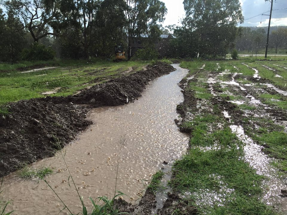 swales, holding water back, rip lines, horse paddock, perfect pastures, rain storm